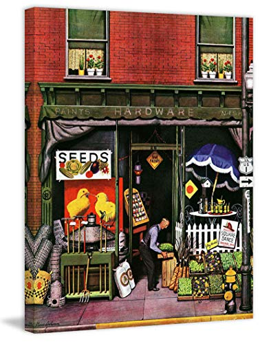 (Marmont Hill 52x40 Hardware Store at Springtime by Stevan Dohanos Painting Print on Wrapped Canvas, 52