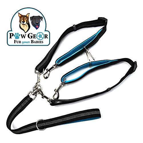 2 Dog Leash Tangle-Free Dual Dog Leash - Double Leash for Big and Small Dogs - Neoprene Padded Handles for Extra Comfort - Seatbelt Hooks Included - Heavy Duty Construction