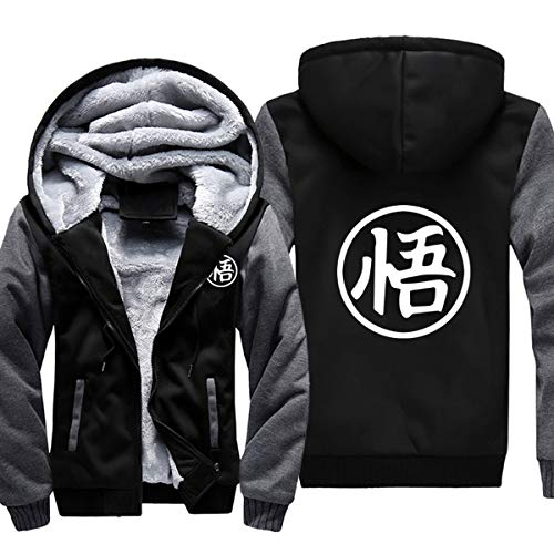 ELEFINE Boys Men's Fleece Thick Hoodies Cosplay Dragon Ball Z Super Saiyan Zip WU Jacket Black&Gray XL