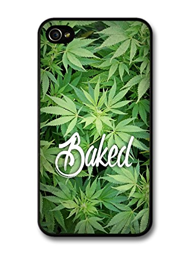 New Baked Design Funny Weed Marijuana Text Quote on Green coque pour iPhone 4 4S