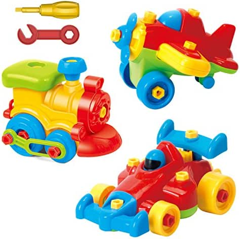 Take Apart Toys Set - Airplane Toy - Train Toy - Racing Car Toy, For Kids - Stem Learning Educational Construction Tool Engineering set Toys For Boys & Girls Ages 3,4,5,6 Years Old And Up, Great GIF