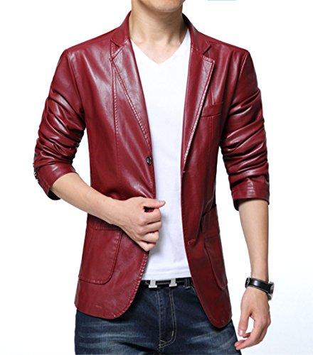 Mens 2 Button Leather Blazer - 6