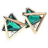 Merdia Stud Earrings with Charming Triangle Glass on Earrings for Girls Green