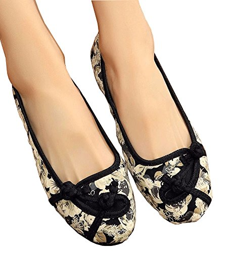 Avacostume Mujeres Floral Pattern Gum-rubber Outsole Zapatos Planos Beige
