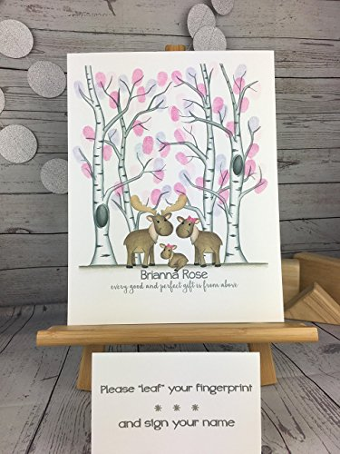 Customizable woodland animal fingerprint tree guest sign in featuring a moose family and a birch tree forest for a girl's woodland animal themed baby (Country Themed Baby Shower)