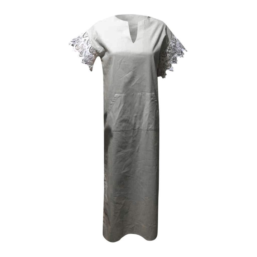 a2946b5c462 LISTHA Womens Long Sleeve Maxi Dress Kaftan Cotton Plain Casaul Oversized Long  Dresses at Amazon Women s Clothing store