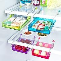 ONEONEY Multipurpose Fridge Storage Sliding Drawer Refrigerator Organizer Space Saver Shelf-Red(2 pcs)