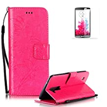 LG G4 Case Cover [with Free Screen Protector], Funyye Elegant Premium Folio PU Leather Wallet Magnetic Flip Cover with [Wrist Strap] and [Credit Card Holder Slots] Stand Function Book Type Stylish Butterfly Leaf Vines Designs Full Protection Holster Case Cover Skin Shell for LG G4 - Rose Red