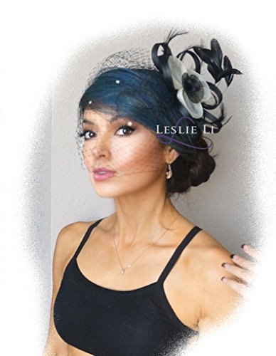 Leslie Li Women's Black Vintage Veil and Fascinator Black/White Cosplay Costume 27-617 ()