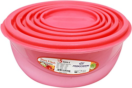 Princeware Plastic Bowl Package Container Set, Set of 5, Pink