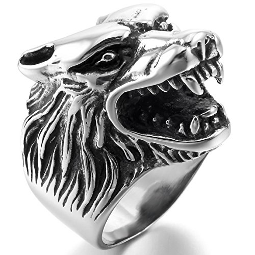 INBLUE Men's Stainless Steel Ring Silver Tone Black Wolf Head Size11 - Wolf Head Ring