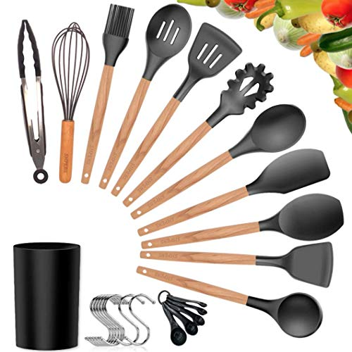 Kitchen Utensil Set, 27Pcs Cooking Utensils Set, Silicone Kitchen Tools, Wooden Spatula Set Non-stick Cookware Turner Tongs Spatula Spoon Kitchen Gadgets with Holder, BPA FREE-FDA APPROVED
