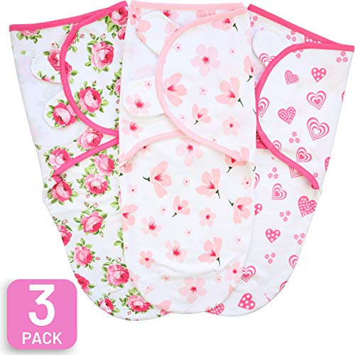 Baby Swaddle Blanket, Adjustable Newborn Wrap, 3 Pack Organic Cotton, 0-3 Month, Pink