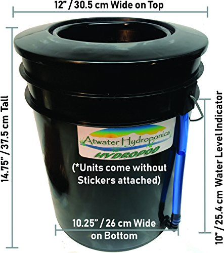 New The Atwater HydroPod - Standard A/C Powered DWC Deep Water Culture/Recirculating Drip Hydroponic Garden System Kit - Bubble Bucket - Bubbleponics - Grow Your Own! Start Today! Hydroponic System 3