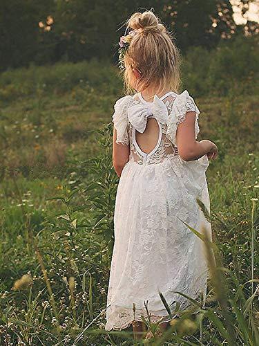 4be8f63f656 KSDN Lace Boho Flower Girl Dress Tea Length A Line Baptism Communion Gown