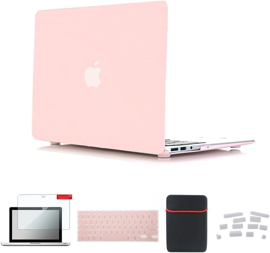 Se7enline MacBook Pro 15 inch Retina Case Smooth Soft-Touch Matte Plastic Hard Cover for MacBook Pro 15 inch with Retina with Sleeve Bag, Keyboard Cover, Screen Protector, Dust Plug, Rose Quartz
