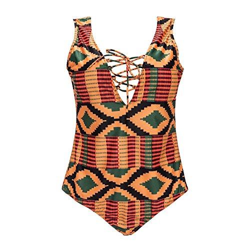 zooarts® 2017Sexy Plus tamaño mujer africana Impresión Bikini bañadores Bañador playa traje de baño de vendaje una pieza monikinis, multicolor, X-Large
