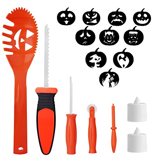 SKINOSM Pumpkin Carving Kit for Kids, 5 Easy Halloween Pumpkin Carving Tools Set, 2 LED Candles & 10 Carving Stencils]()