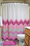 DII Oceanique 3-Piece Bathroom Set, Machine Washable, for Everyday Use, Kids, Teens, Includes 72x72'' Shower Curtain, 12 Shower Hooks, and 1 Bath Rug, Chevron Pink