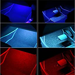 Hoyoki 7 Color LED Car Interior Lights, 4pcs Cars Interior Neon Strip Lights with Wireless Remote Control and Car Charger
