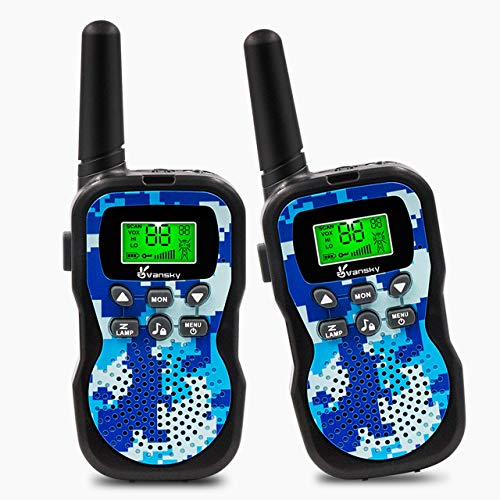 Vansky Walkie Talkies for Kids Boys Toys Age 4 5 6 7 8 Long Range 22 Channel Built-in Flashlight 2 Way Radio Best Gifts Games, Outdoor Adventure, Camping, Hiking & More (Camo Blue)