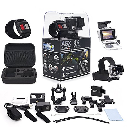 ActionPro 4K Touch Screen WiFi Sports Camera with Wireless Wrist Remote and Headstrap - Touch Screen and Wireless Wrist Remote - 4K Ultra HD - Waterproof - Wide Angle Lens - 20 Accessories Incl AudioSnax