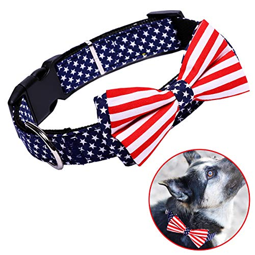 H-Shero American Flag Bowtie Dog Collar in 3 Different Sizes (Small:Width 1.5cm, Adjustable 29-39cm)