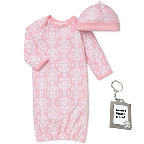 Little Me Pink and White Damask Long Sleeve Gown Hat and Keychain 0-3 mth -