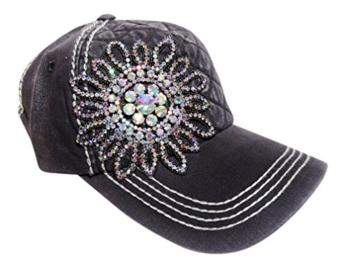 (AB Color Rhinestone Large Flower Quilted Front Baseball Cap Hat (Black))