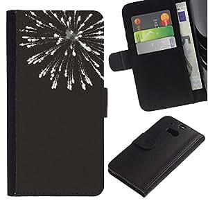 Supergiant (New Years Black White Fireworks 4'Th) Dibujo PU billetera de cuero Funda Case Caso de la piel de la bolsa protectora Para HTC One M8