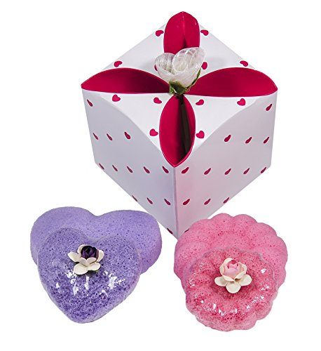 Set of Heart & Flower Shaped 100% Pure Konjac Sponges in Lavender & Rose. Fully Gift Wrapped Including Gift Bag. Great Gift for Valentine's Day