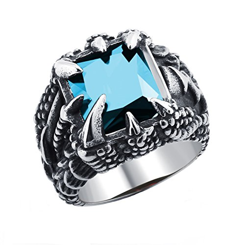 Silver Gothic Dragon - DALARAN Classic Men's Dragon Claw Ring Gothic Band 316L Stainless Steel Blue Crystal Ring for Men Size 11
