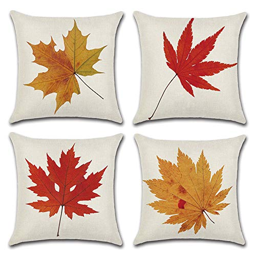 - DUSEN Decorative Cotton Linen Set of 4 Throw Pillow Cushion Covers 18 x 18 inch for Sofa, Bench, Bed, Auto Seat (Maple Leaf Pattern)