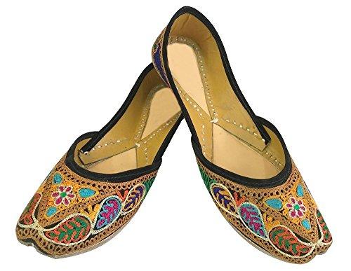 Schritt N Style Damen Khussa Schuhe Panjabi juttis flach Sandalen handgefertigt indischen Schuhe Mehrfarbig