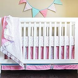 Pam Grace Creations Simply Four Piece Crib Bedding Set, Aqua