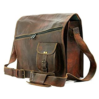 "Handmade World Vintage Brown 15"" Leather Messenger Bag for Men Women Mens Briefcase Laptop Best Computer Satchel Bags"