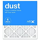 AIRx DUST 18x20x1 MERV 8 Pleated Air Filter - Made in the USA - Box of 6