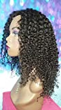 16 INCH HUMAN HAIR FULL LACE WIG VIRGIN BRAZILIAN KINKY CURLY MEDIUM GLUELESS