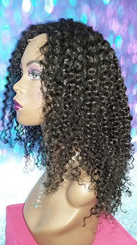 16 INCH HUMAN HAIR FULL LACE WIG VIRGIN BRAZILIAN KINKY CURLY MEDIUM GLUELESS by Angel Hair Haven