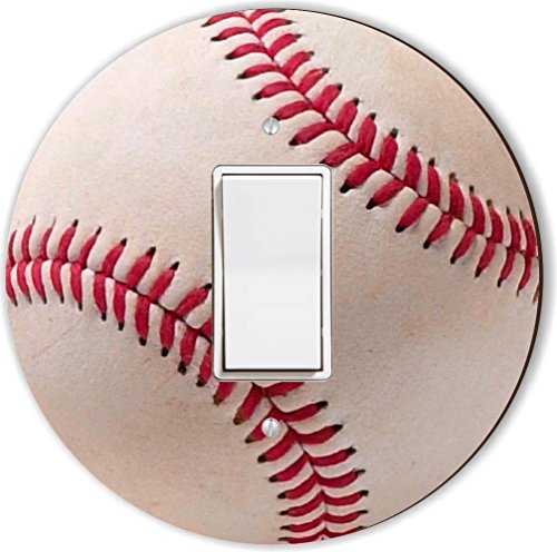 Rikki Knight Baseball Red and White Design Round Single Rocker Light Switch Plate - Baseball Light Switch Cover