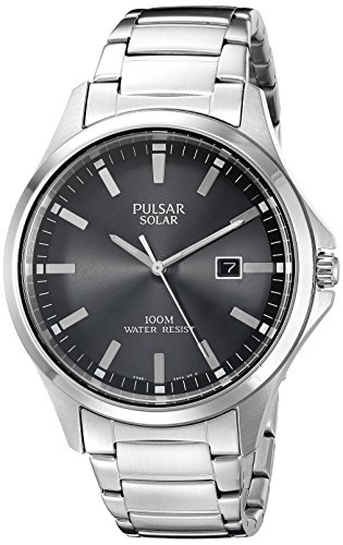Pulsar Analog Wrist Watch (Pulsar Men's PX3073 Solar Dress Analog Display Japanese Quartz Silver Watch)