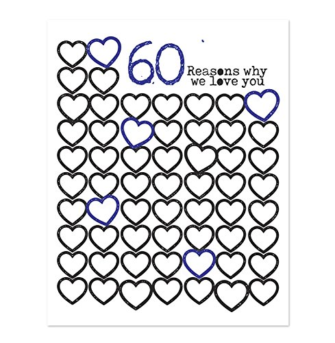 Birthday 60th Anniversary (11x14 in 60 Reasons Why We Love You Poster Print - Personalized 60th Birthday Gift For Women and Men//Anniversary Decorations//Birthday Party Decorations//Guest Book//For Mom For Her For Men)