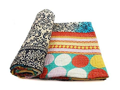 Vintage Kantha Quilt Handmade Indian Cotton Bedspread Gypsy Bedding Throw