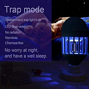 Bug Zapper Light Bulb 15W 2 in 1 Mosquito Killer Lamp 1200LM E26 Base Bug Zapper Light Indoor Outdoor Electric Mosquito Killer/Bug and Fly Killer/Insect Killer