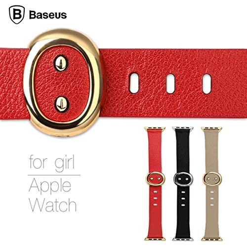 Apple Watch Band,38mm For Girl series Genuine Leather Strap Wrist Band Replacement W/ Metal Clasp for Apple Watch Sport Edition 38mm
