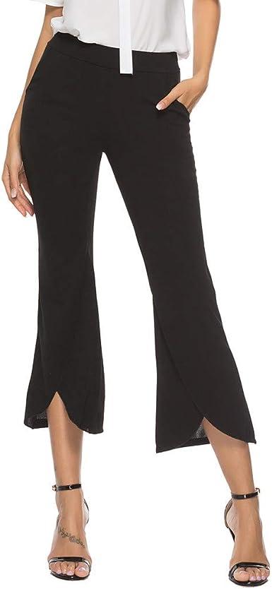 Risthy 3 4 Pantalones Acampanados Mujer Pantalones De Vestir Palazzo Cintura Alta Senora Pantalones Elegantes Solido Con Bolsillos Oficina Trabajo Casual Pantalon Amazon Es Ropa Y Accesorios