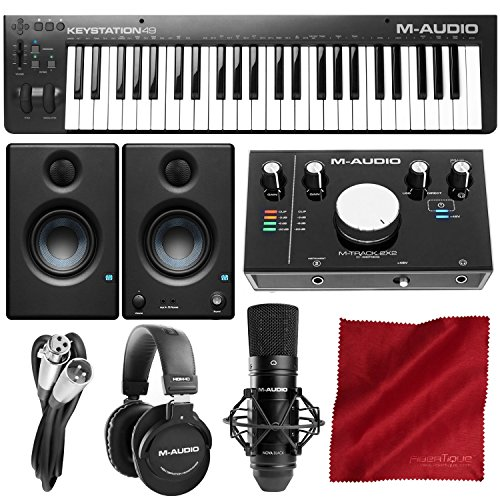 M-Audio Keystation 49 MK3 Compact 49-Key USB-Powered MIDI Keyboard Controller with M-Audio M-Track 2X2 Vocal Production Kit Premium Studio Bundle