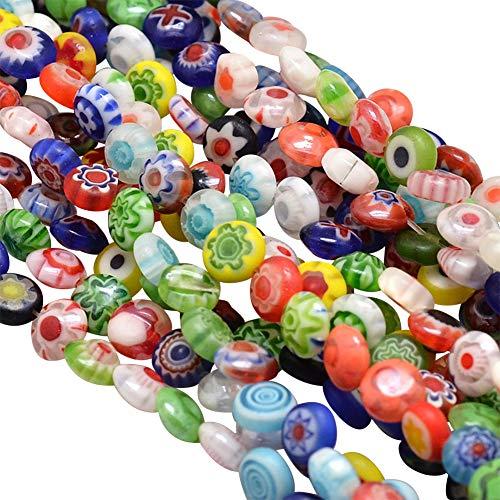 PH PandaHall 10 Strands 6mm Millefiori Lampwork Glass Beads Flat Round Spacer Bead for Jewelry Making 15.9