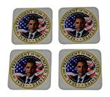 President Barack Obama Presidential Seal Flag Drink Coaster Set Gift United States of America Military Veteran Home Kitchen Bar Barware