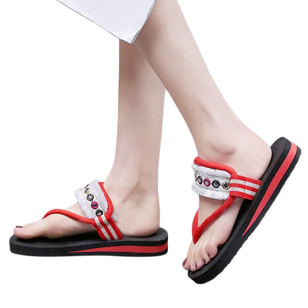 Duseedik Summer Women's Sandals Flip Flops Flats Walking Beach Sports Outdoors Casual Shoe Outdoor Red